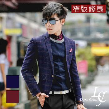 L AME CHIC 經典棋盤方格窄版修身毛呢西裝外套(現貨-紫紅)