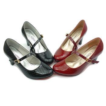 【cher美鞋】漆皮瑪莉珍高跟鞋 (黑色/紅色)899-192