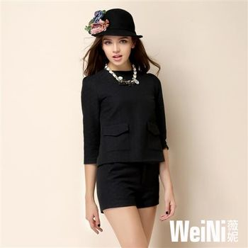 【WeiNI薇妮】圓領七分袖提花紋上衣+短褲套裝(黑色)