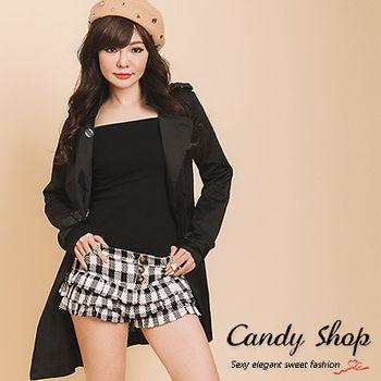 CANDY小舖 甜美蛋糕裙格紋前排釦短褲