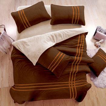 生活提案 衝浪沙灘 珊瑚絨 雙人四件式 兩用被床包組
