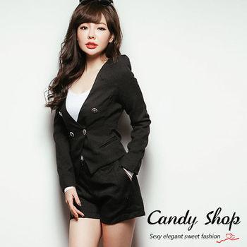 Candy小舖 氣質素面前拉鍊摺線西裝短褲(預購+現貨)