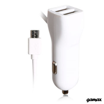 【gamax】3.4A 超強雙USB+Micro充電線 三輸出車充器 (八色可選)