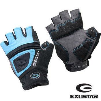 EXUSTAR Gel吸震半指手套 (藍) M