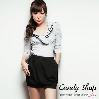 Candy小舖 氣質OL胸前V領荷葉直條紋七分袖襯衫上衣 2色選