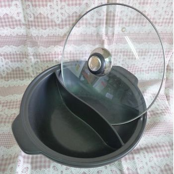 極耐燒陶瓷鴛鴦鍋(附玻璃蓋)