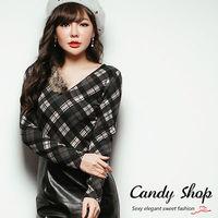 Candy小舖 格紋拉鍊單邊刷毛 長袖修身上衣 ^#40  ^#43  ^#41 2色選