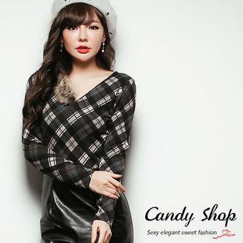 Candy小舖 格紋拉鍊單邊刷毛設計長袖修身上衣(預購+現貨) 2色選