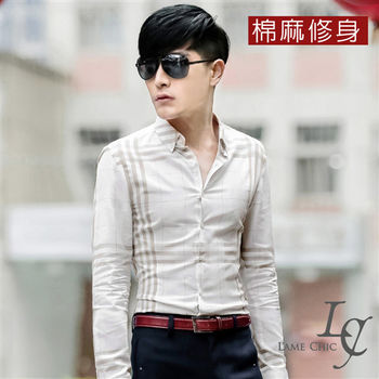 L AME CHIC 英倫方格拚色棉麻修身長袖襯衫