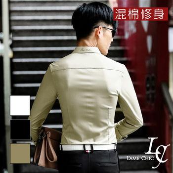 L AME CHIC 韓風領背刺繡混棉修身長袖襯衫
