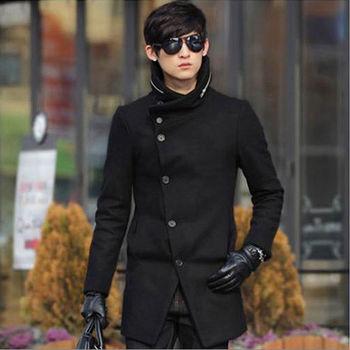 L AME CHIC 英倫斜釦拉鍊立領毛料大衣長外套