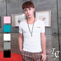 L AME CHIC 韓國美式休閒極簡V領素面皮革口袋窄版透氣短袖TEE ^#40  ^#