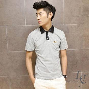 L AME CHIC 韓國百搭騎士風領口拼皮革窄版透氣短袖POLO衫(現貨-灰/黑)