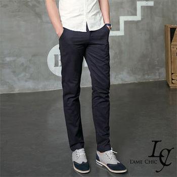 L AME CHIC 韓國專櫃英倫雅痞休閒素面窄版修身九分褲