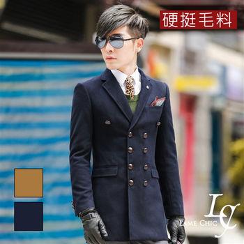 L AME CHIC 翻領雙排木質扣硬挺毛料大衣外套(現貨-卡其/藍)
