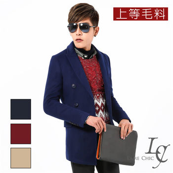 L AME CHIC 上等毛料貢針劍領雙排釦大衣外套(現貨-紅/藍)