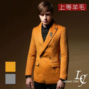L AME CHIC 韓國製 一粒釦羊毛修身西裝領大衣外套(現貨-灰)