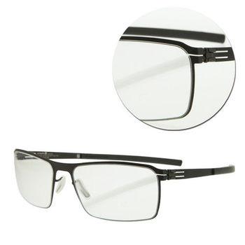 【ic!berlin】德國薄鋼長方黑色光學眼鏡(Jaun-Black)