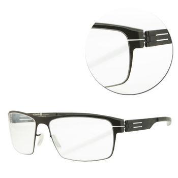 【ic!berlin】德國薄鋼復古方框黑色光學眼鏡(Albula Large-Black)