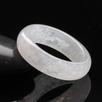 【雅紅珠寶】冰心一片天然冰種白翡圓形玉戒-#10