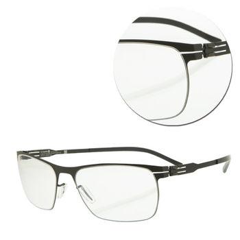 【ic!berlin】德國薄鋼復古黑色光學眼鏡(Julius-Black)