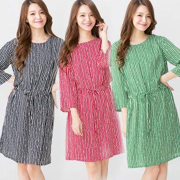 Wonderland 時尚直條紋居家洋裝3件組