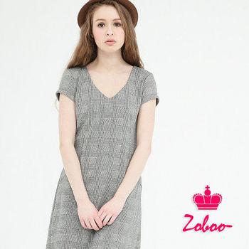 【Zoboo】簡約V領幾何修身洋裝