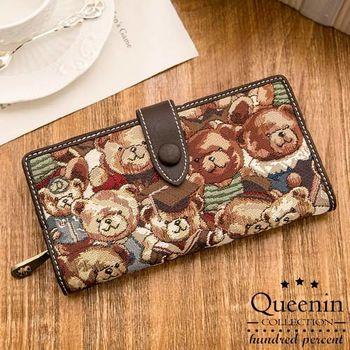 DF Queenin皮夾 - Mr.bear針織熊多卡功能舌扣式長夾