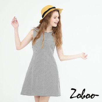 【Zoboo】細千鳥格紋無袖連身裙