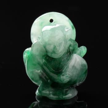 【雅紅珠寶】靈猴獻桃天然綠翡翠玉項鍊-十二生肖-猴