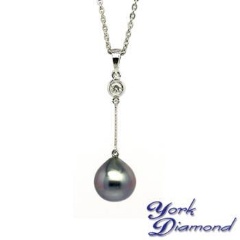 【約克鑽石】秀氣佳人10.8mm大溪地南洋黑珍珠真鑽項鍊