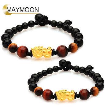 MAYMOON 黃金富貴貔貅手珠男女對鍊