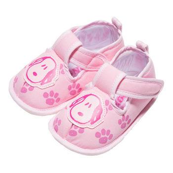 布布童鞋 Snoopy史努比狗繽紛布面軟底寶寶學步鞋 [ CA3152G] 粉紅款