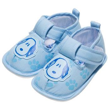 布布童鞋 Snoopy史努比狗繽紛布面軟底寶寶學步鞋 [ CA3152B ] 藍色款