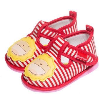 布布童鞋 ButterLion奶油獅橫條感布面軟底學步鞋 [ AA3849A ] 紅色款