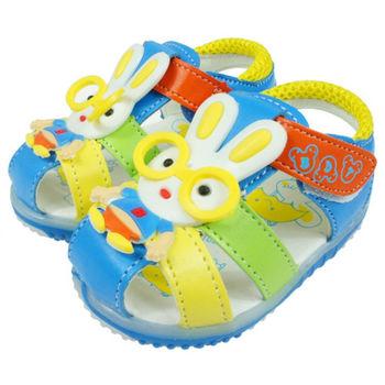 布布童鞋 小兔子藍色電燈涼鞋 [OI1639B]