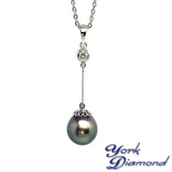 【約克鑽石】氣質名媛10.3mm大溪地南洋黑珍珠真鑽項鍊
