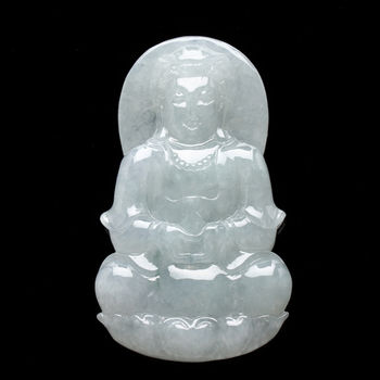 【雅紅珠寶】慈佑眾生天然冰種玉項鍊-觀世音菩薩