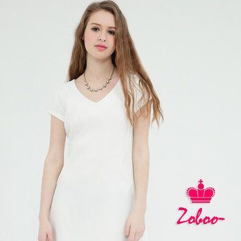 【Zoboo】簡約V領素面修身洋裝