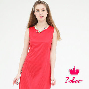 【Zoboo】亮麗紅小圓領無袖素面修身洋裝