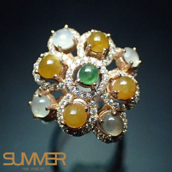 【SUMMER寶石】設計款天然翡翠三彩戒指 T-02(925銀玫瑰金)