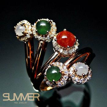 【SUMMER寶石】設計款天然翡翠三彩戒指 T-01(925銀玫瑰金)