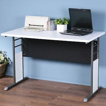 Homelike 巧思辦公桌 炫灰-白色加厚桌面120cm