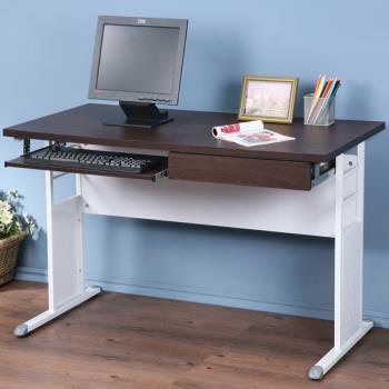 Homelike 巧思辦公桌 亮白-黑色加厚桌面120cm(附鍵盤架.抽屜)
