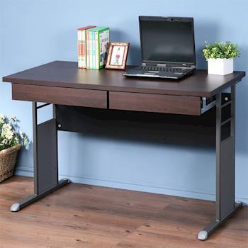 Homelike 巧思辦公桌 炫灰-胡桃加厚桌面120cm(附二抽屜)