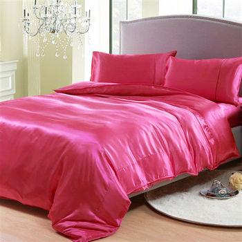 RODERLY 亮彩桃-絲緞 加大四件式被套床包組