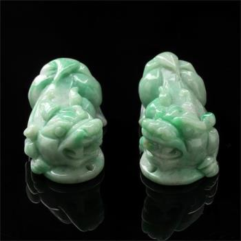 【雅紅珠寶】招財貔貅天然綠翡翠玉項鍊-擺件兩用-貔貅一對