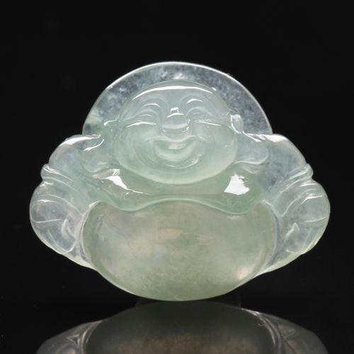 【雅紅珠寶】全滿綠通透天然玻璃種放瑩光歡喜玉墜子