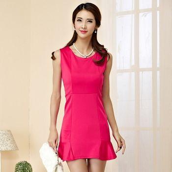 【KVOLL中大尺碼】玫紅色無袖魚尾裙修身洋裝