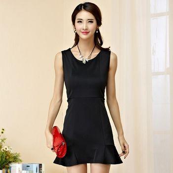 【KVOLL中大尺碼】黑色無袖魚尾裙修身洋裝